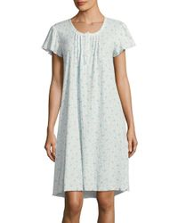 Miss Elaine - Blue Ribbed Floral Nightgown - Lyst