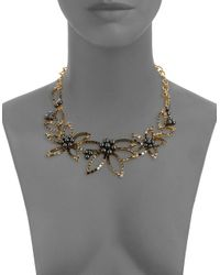 Oscar de la Renta - Metallic Faux Pearl And Stone-accented Floral Statement Necklace - Lyst