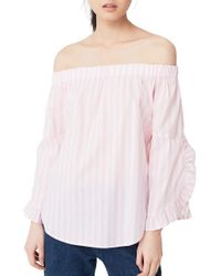 Mango - Pink Striped Off-the-shoulder Poplin Blouse - Lyst