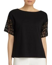 Lafayette 148 New York - Black Lace Sleeve Top - Lyst
