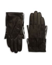 Carolina Amato | Black Fringed Leather Gloves | Lyst