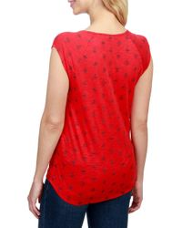 Lucky Brand - Red Printed Scoopneck Top - Lyst