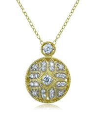 Lord & Taylor - Metallic Sterling Silver And Cubic Zirconia Filigree Pendant Necklace - Lyst