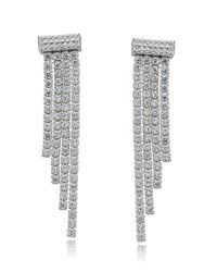 Lord & Taylor | Metallic Sterling Silver And Cubic Zirconia Waterfall Earrings | Lyst