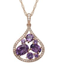 Lord & Taylor | Metallic Amethyst, Diamond And 14k Rose Gold Pendant Necklace | Lyst