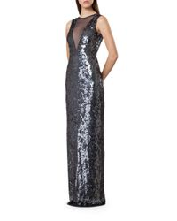 JS Collections - Blue Sequined Illusion-neck Gown - Lyst
