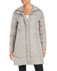 Ellen Tracy   Gray Quilted Faux Fur-lined Jacket   Lyst