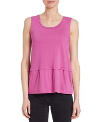 Lord & Taylor | Purple Pleated Roundneck Shell | Lyst