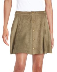Lord & Taylor | Blue Snap-button Faux Suede Skirt | Lyst