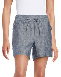 Lord & Taylor | Blue Chambray Linen Shorts | Lyst