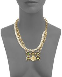 Gerard Yosca - Metallic Headlight Stone Simulated Pearl Floral Nested Necklace - Lyst