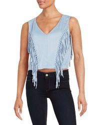 Lord & Taylor | Blue Fringed Faux Suede Top | Lyst