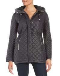 French Connection | Black Quilted Zip-front Jacket | Lyst