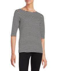 Isaac Mizrahi New York | Black Boatneck Top | Lyst