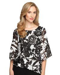 Alex Evenings | Black Plus Floral Print Chiffon Asymmetrical Tier Blouse | Lyst