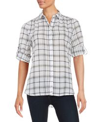 Lord & Taylor | White Petite Cotton Plaid Sportshirt | Lyst