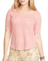 Lauren by Ralph Lauren | Pink Plus Linen Scoopneck Tee | Lyst