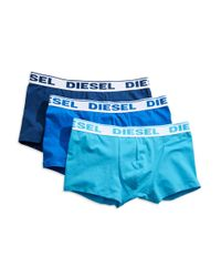 DIESEL | Blue Stretch Cotton Trunks, 3-pack for Men | Lyst