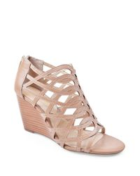 Adrienne Vittadini | Natural Andre Suede Wedge Sandals | Lyst