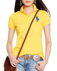 Polo Ralph Lauren - Yellow Skinny-fit Big Pony Polo Shirt - Lyst