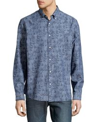 33887b64f634 Black & Brown Floral-print Button-down Shirt in Blue for Men - Lyst