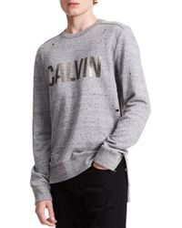 Calvin Klein Jeans | Gray Distressed Cotton Sweatshirt for Men | Lyst