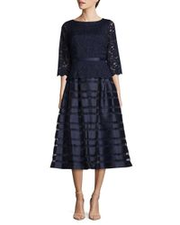 Alex Evenings - Blue Semi-sheer A-line Dress - Lyst