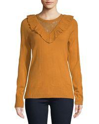 Ivanka Trump - Orange Ruffle Crewneck Sweater - Lyst