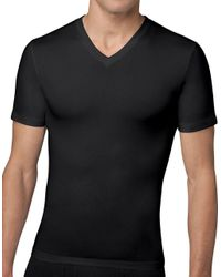 Spanx - Black Cotton Compression V-neck Tee for Men - Lyst