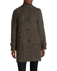 Jones New York - Brown Stand Collared Coat - Lyst