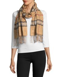 Lord & Taylor - Multicolor Jeweled Plaid Scarf - Lyst