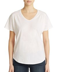 Lord & Taylor - Black Shirred V Neck Tee - Lyst