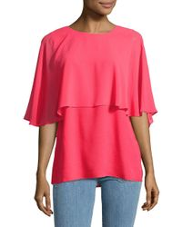 CALVIN KLEIN 205W39NYC - Red Chiffon Cape-sleeve Top - Lyst