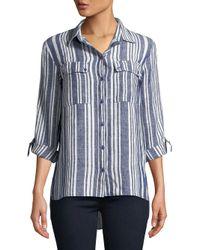 Jones New York - Blue Graphic Linen Button-down Shirt - Lyst