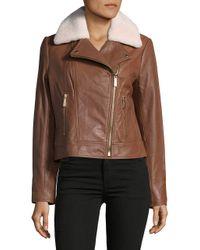 MICHAEL Michael Kors - Brown Lamb Fur Trim Leather Jacket - Lyst