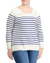 Lauren by Ralph Lauren - Blue Plus Striped Crewneck Sweater - Lyst