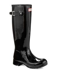 Hunter - Black Original Tour Gloss Rubber Rain Boots - Lyst