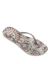 600aa21741139f Havaianas Peacock Paisley Slim Thematic Flip Flops in White - Lyst