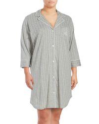 Ralph Lauren - Gray Paisley Cotton Sleepshirt - Lyst
