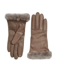 Ugg - Gray Classic Shearling-trimmed Leather Smart Gloves - Lyst