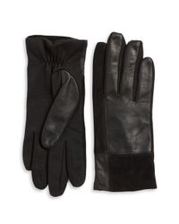 Lord & Taylor   Black Mixed Media Tech Gloves   Lyst