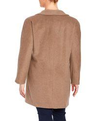 Ellen Tracy | Brown Pickstitched Wool-blend Walker Coat | Lyst