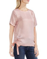 Vince Camuto - Pink Side Drawstring Crinkle Top - Lyst