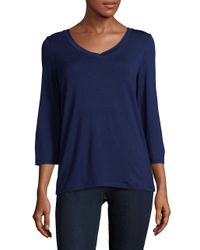 Lord & Taylor | Blue V-neck Top | Lyst