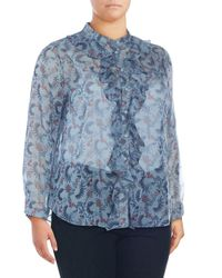 Vince Camuto - Blue Plus Floral-print Ruffle Front Blouse - Lyst