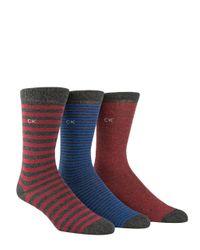 CALVIN KLEIN 205W39NYC - Blue Three-pack Multi Stripe Crew Socks for Men - Lyst