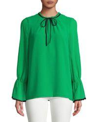 Karl Lagerfeld - Green Mockneck Bell-sleeve Top - Lyst