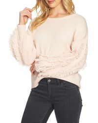 1.STATE - Multicolor Crewneck Fringe Sleeve Sweater - Lyst