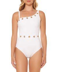 Bleu Rod Beattie - White Grommeted One-shoulder Swimsuit - Lyst