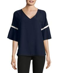 Calvin Klein - Blue Contrast Trim Short-sleeve Top - Lyst